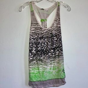 Black & green animal print tank top